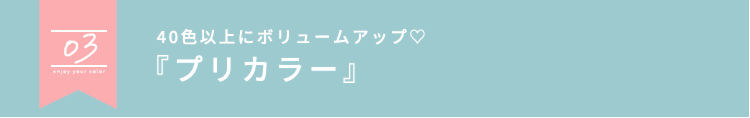 03 40色以上にボリュームアップ♡『プリカラー』